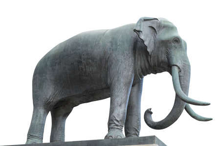 national animal: Elephant Statue on white background with clipping path. Elephant is the national animal of Thailand. Stock Photo
