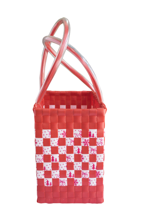 interleaved: Hand craft plastic basket isolated white
