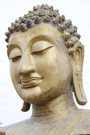 Close-up head of buddha statue. Buddha statue is being rebuilt