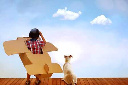 Little boy in a cardboard airplane. Child is pretending to be a pilot. Travel, concept of dreams and travels. Stockfoto