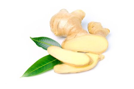 Ginger root and slices with leaves isolated on white background, herb medical concept