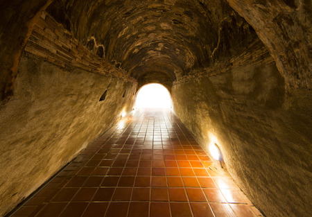 stone of destiny: Walkway tunnel made by red brick and middle white isolated space for text or design