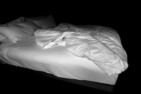 unmade: View of an unmade bed, Messy bed concep