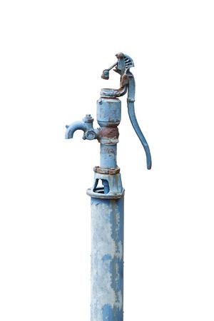palanca: Bomba manual de agua Viejo (Bombas de palanca) aislado en blanco Foto de archivo