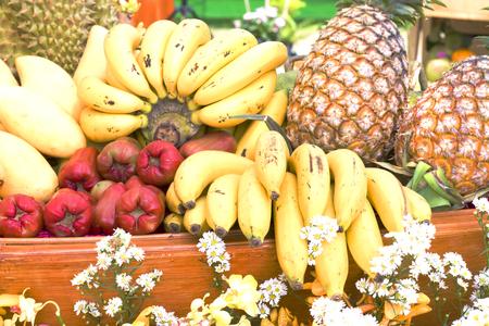 mixed fruits: Many fresh fruits mixed, fruits background Stock Photo
