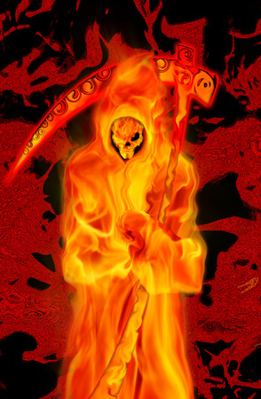 grim: Grim Reaper in fire Stock Photo