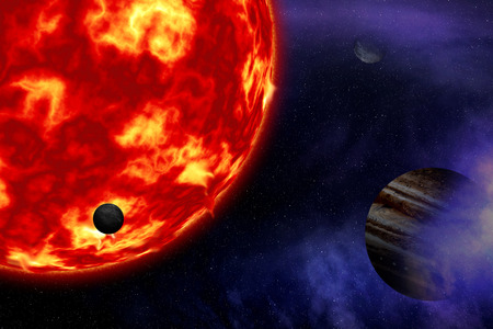 Sun and planet. Elements of this image furnished