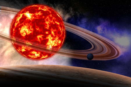Universe scene with planets. Stock Photo
