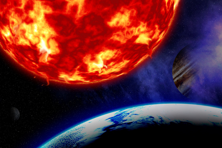 end of the world: Earth and sun. Stock Photo