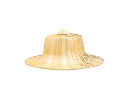 Traditional thai hat made from bamboo and palm leaf on white background.