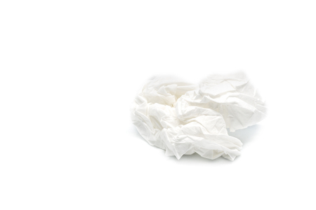 used screwed paper tissue isolated on white background