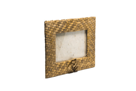 wicker work: bamboo weave picture frame isolated on white background