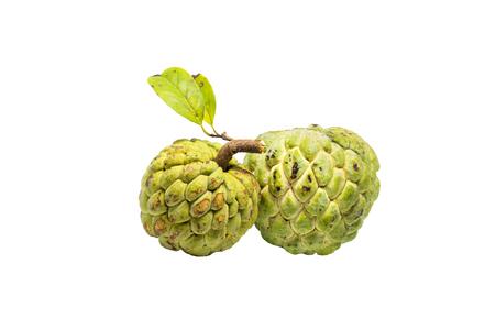sweetsop: Sugar Apple (custard apple, Annona, sweetsop) on white background Stock Photo