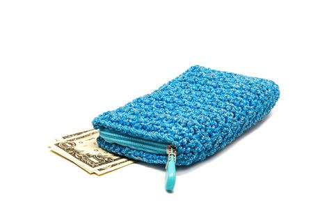 bolsa dinero: Dinero de bolsillo con el dólar aislado en el fondo blanco. Foto de archivo