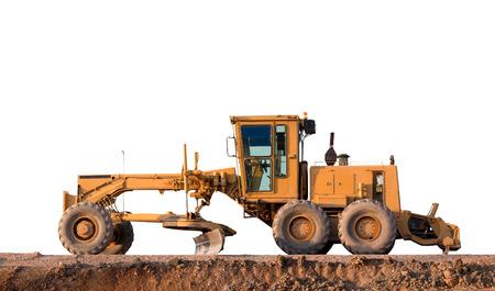 grader: Grader Road Construction Grader industrial machine on construction of new roads white background