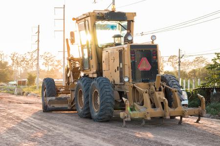 grader: Grader Road Construction Grader industrial machine on construction of new roads. Stock Photo
