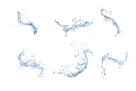 water splashes: High resolution water splashes collection isolated on white background