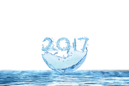 Happy New Year 2017 by Pure splash of water isolated on white background