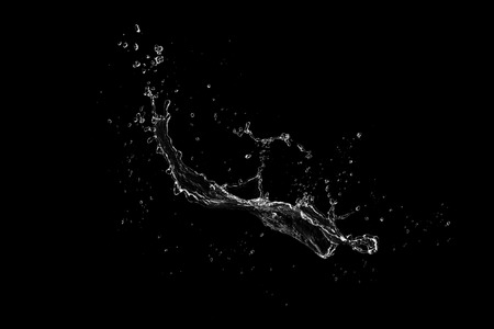 water splash isolated on black background