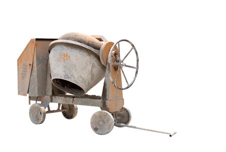 Concrete mixer isolated on white background.Old concrete mixer isolated