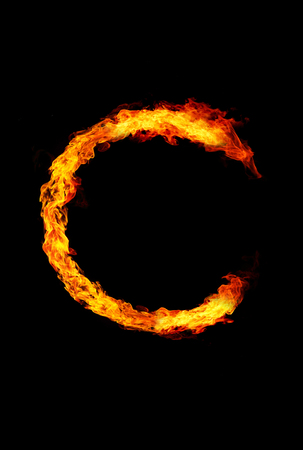 letter c: Fire letter C of burning flame.