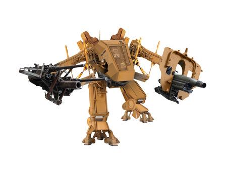 battle robot technic  image retouch isolated on white background. Stockfoto