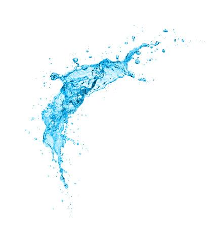 Spruzzata dell'acqua isolata su fondo bianco