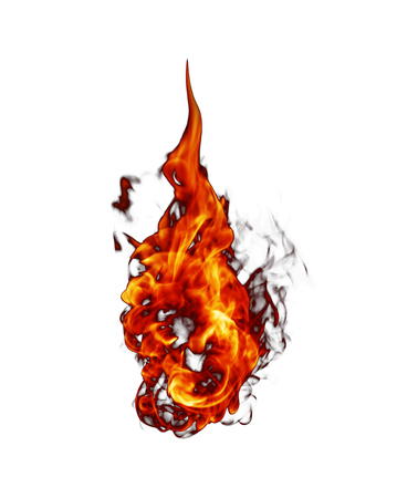 Fire flames isolated on white background. 免版税图像