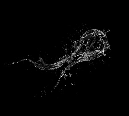 water Splash isolate On black Background.