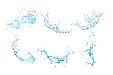 Group set water Splash isolate On White Background. 免版税图像