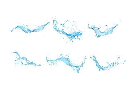 Group set water splash isolated on white background.