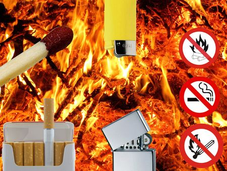 attentions: danger of fire Stock Photo