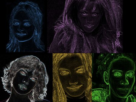 contrastive: colour beautiful faces