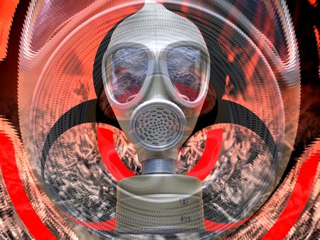 attentions: Gas mask background