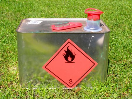 flammable: flammable liquid can Stock Photo