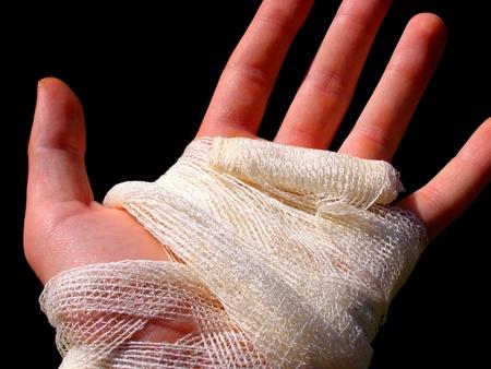 contrastive: hand bandage Stock Photo