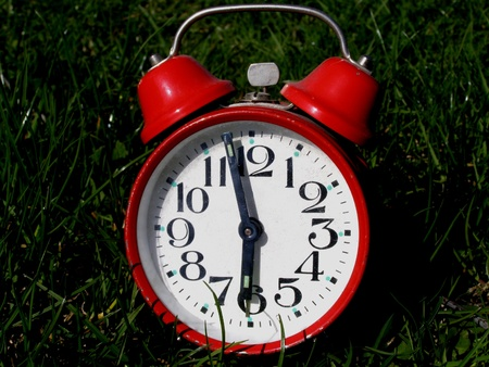 contrastive: alarm clock in grass Stock Photo