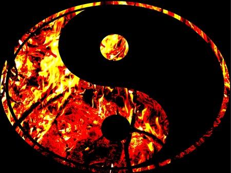 contrastive: ying yang fire symbol