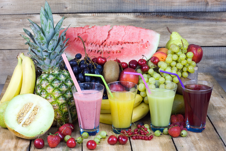 blend: Fresh fruits, juce fruits and coctails Stock Photo