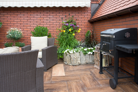 garden furniture: Garden furniture and grill on the terrace