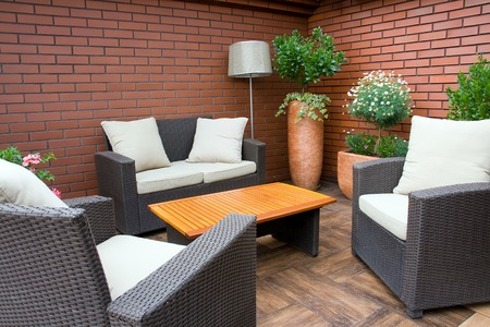 garden furniture: Close-up of relaxing furniture in the garden Stock Photo