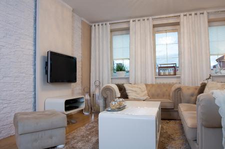 luxury living room: Beige luxury living room in elegant residence Stock Photo