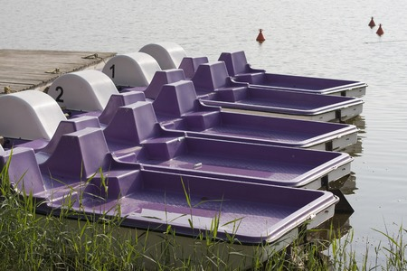 pedal: Close-up of pedal boats on the lake