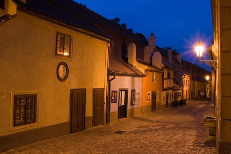 View of Golden Lane in Prague at night