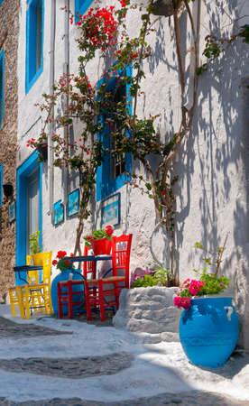 House facade, stairs, Mastichari in Kos. Kos Town, Greece. Europe