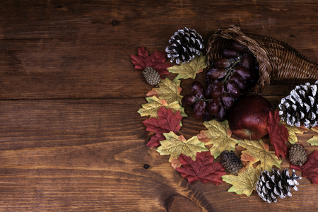 Thanksgiving decor with horn of plenty, frosted pine cones, apple, grapes and maple leaves