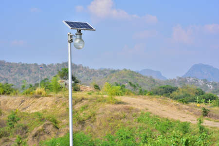 solar cell lamp street light in country side.