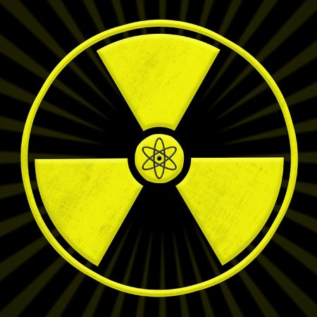 nuclear waste disposal: radioactive symbol with gammar radiations and atomic, nuclear power symbol
