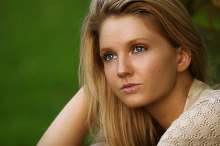 blonde yeux bleus: parfait Allemand blond girl Banque d'images