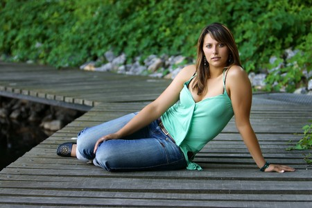 landing stage: perfect natural girl at the landing stage